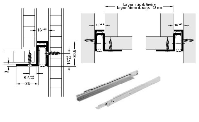achetez glissiere de tiroir 1 metre la paire au meilleur. Black Bedroom Furniture Sets. Home Design Ideas